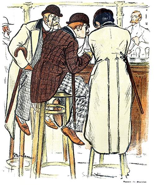 Three men with canes and bowler hats are sitting on stools at a bar