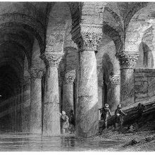 The Basilica Cistern, Istanbul, showing an archway supported by large pillars