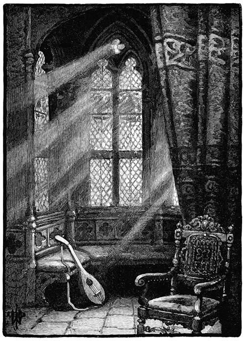Oriel window seen from the inside with a lute resting against a bench