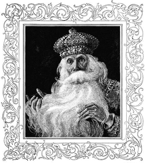 An astonished old king looks at the viewer as his hands play in his fluffy beard