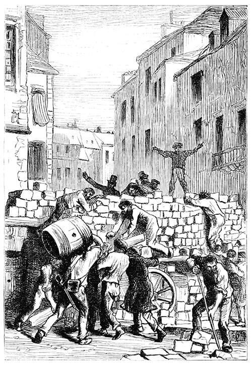 The rebels of June 1832 build the barricade rue de la Chanvrerie