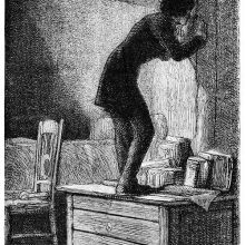 A young man climbed upon a chest of drawers to peep into the adjacent room