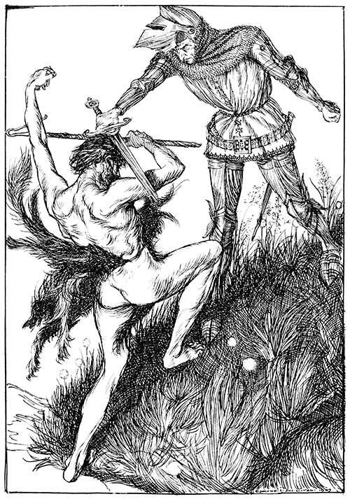 A bellicose shepherd is struck on the head by a knight wielding his sword