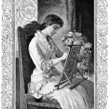 A woman sitting on a chair is busy embroidering a canvas mounted on a frame