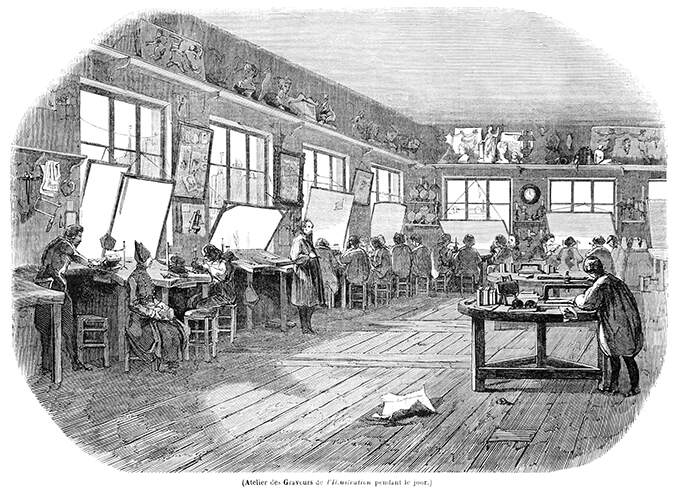 View of the engraving workshop at the newspaper L'Illustration during daytime