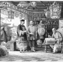 Shop of a Chinese lantern merchant with sellers presenting lanterns to customers