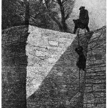 A man silhouetted at the top of a wall hauls up a woman holding on a rope