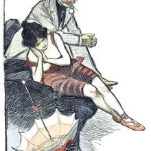 A smoking man wearing a boater is sitting beside a woman in a red bathing suit