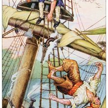 A youth sits at the crosstrees of a mast as his pursuer falls from the rigging