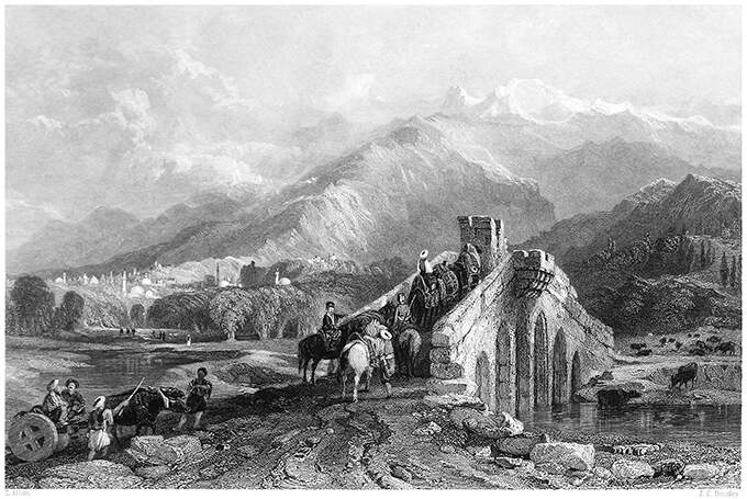 Travelers are crossing a bridge with Mount Olympus in the background