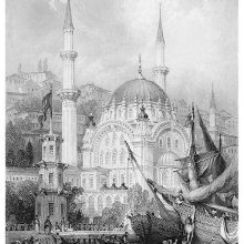 View of Nusretiye Mosque with people boarding a ship from a rowboat in the foreground