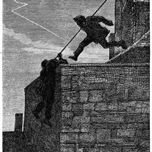 A man jumps from one roof to another as a second one climbs down a wall with a rope