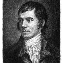 Portrait of Robert Burns showing a three-quarter frontal view of the poet