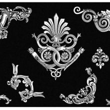 Tailpiece motif with palmette and six corner ornaments with foliage design