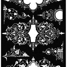 Three decorative designs with arabesque and interlacing patterns drawn
