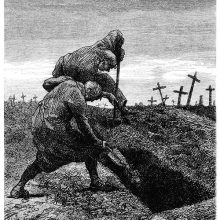 Two men are busy digging a grave in a cemetery with crosses in the background
