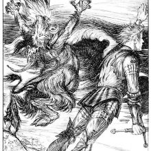 A knight and a leaping creature with goat's legs stand in a storm on the seashore