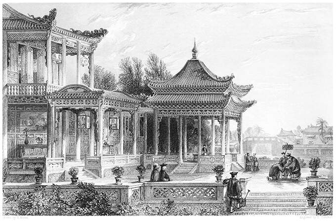 View of a pavilion with elaborate decoration in the Tongzhou District, Beijing