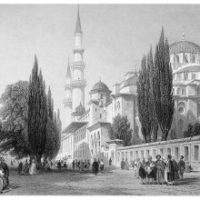 Süleymaniye Mosque seen from the outer court, an esplanade busy with people