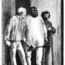 Three men wearing masks stand in front of a doorway in a threatening attitude