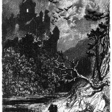 A castle can be seen towering over a landscape where a man rides along a river