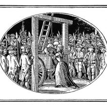 A man has been brought to the gallows in a cart and leans over a woman standing behind
