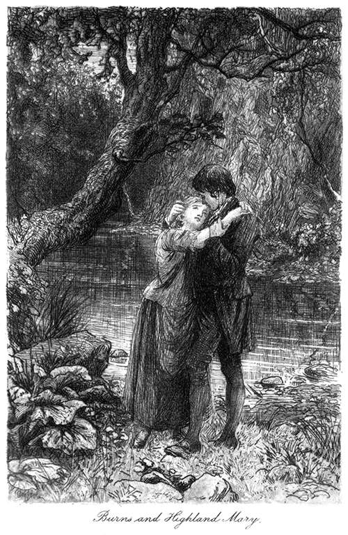 A young man and woman stand clasped in each other's arms on a river bank