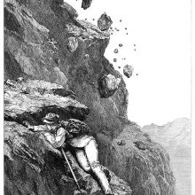 A mountaineer climbing an uneven rock face shelters himself from falling rocks