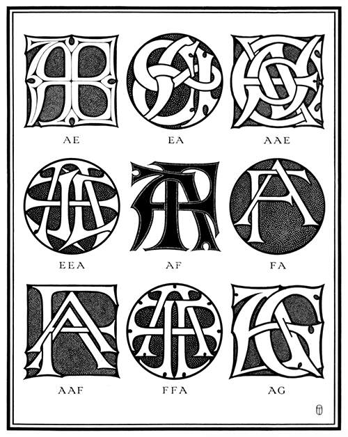 Plate showing nine ciphers combining the letter A with E, F, and G