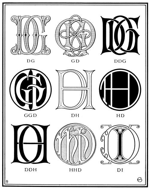 Plate showing nine ciphers combining the letter D with G, H, and I