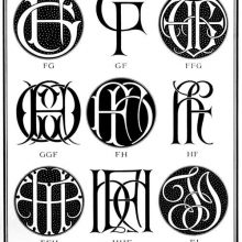Plate showing nine ciphers combining the letter F with G, H, and I