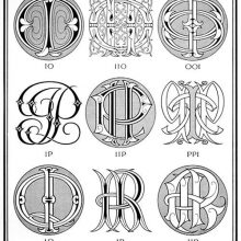 Plate showing nine ciphers combining the letter I with O, P, Q, and R