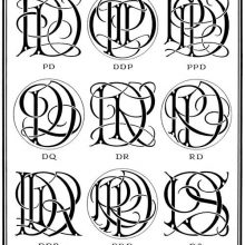 Plate showing nine ciphers combining the letter D with P, Q, R, and S