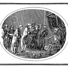 A crowned skeleton sits on a throne and admonishes a group of sickly and crippled men