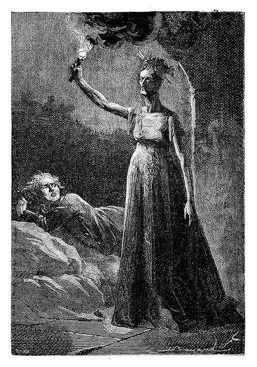 A woman with a wild stare holds a torch above her head as a man lies behind her