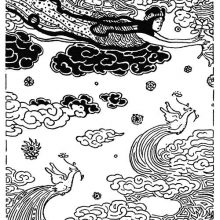 A female figure is floating in the sky among clouds and birds