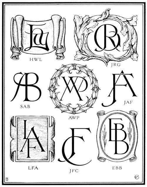 Plate showing nine monograms, some of them inscribed inside a cartouche