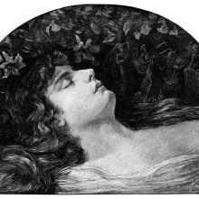 A sleeping woman is seen from the side with flowers hanging over her head