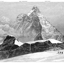 View of the south face of the Matterhorn as seen from Theodul Pass