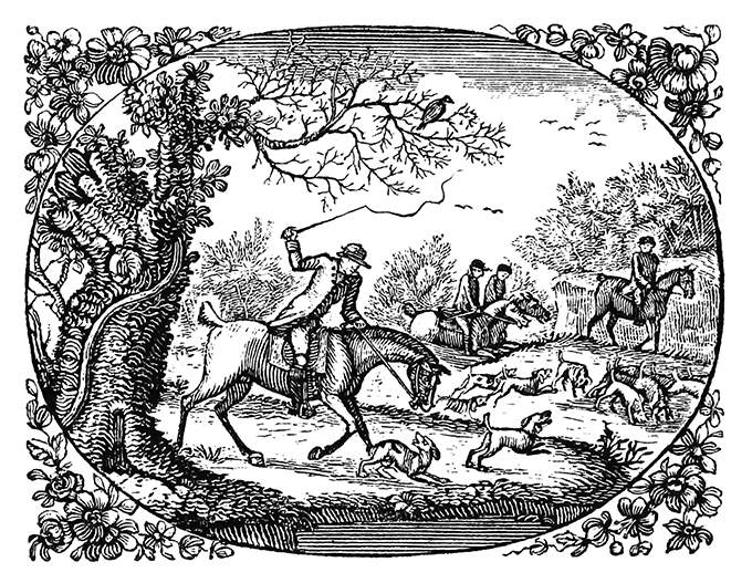A huntsman on his horse threatens a dog with his whip