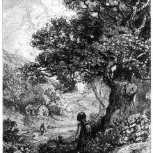 A man pauses under a tree overlooking a valley where a woman stands by the river