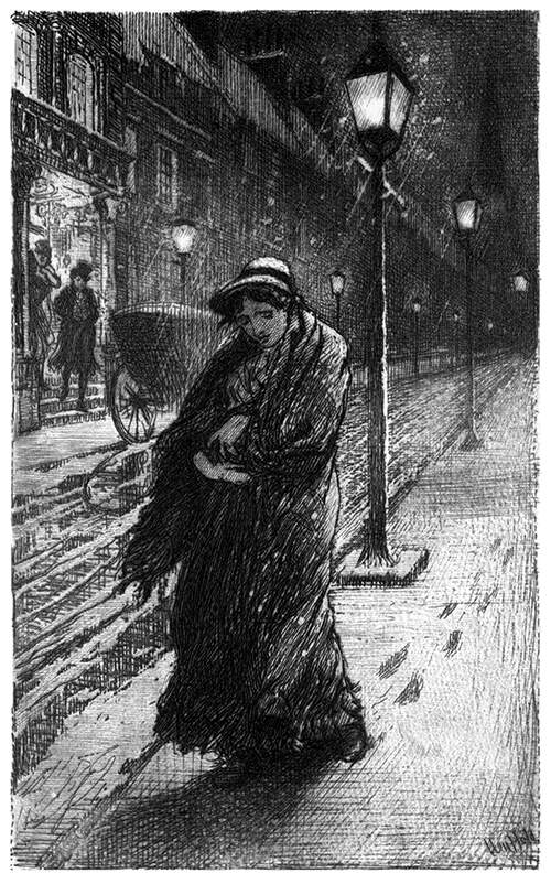 A woman is walking down a street in the snowy night with a baby in her arms
