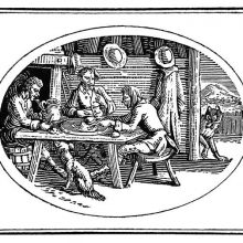 Three men are eating at a table as a wolf passing by the open door peers into the room