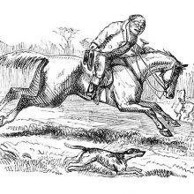 A man riding a galloping horse takes his hat off as a dog runs alongside