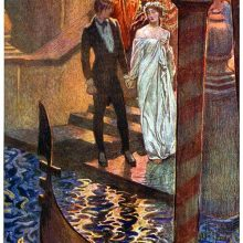 A man and a woman are holding hands at the foot of stairs leading to a Venetian canal