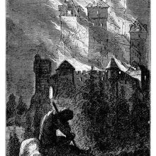 A medieval castle is burning in the night as a man sits forlorn in the foreground