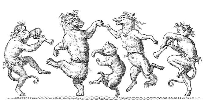 A cat, a bear, and a female wolf dance to the music of an ape and a boy playing the shawm