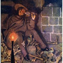 A man sitting in a cellar with bones scattered on the floor drinks from a glass