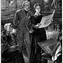 In a studio, a woman holds a print and shows it to the man standing behind her