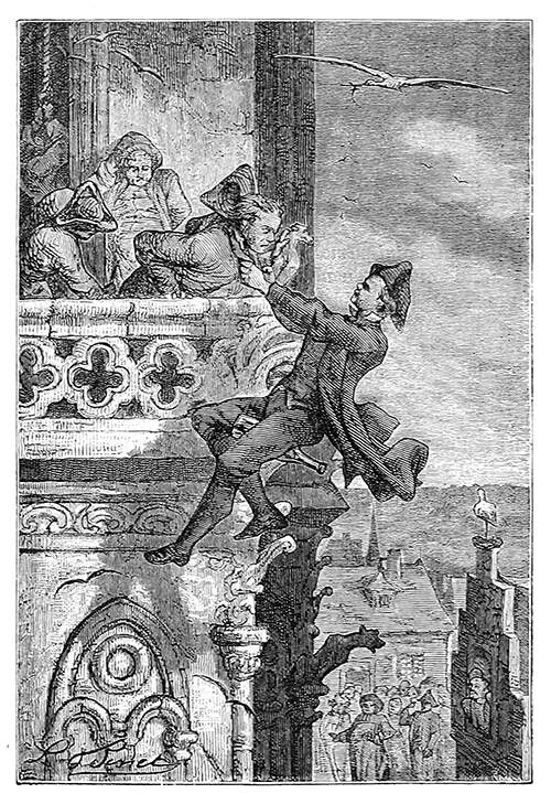 A man riding a bottle floats in mid-air and tries to make a man on a balcony follow him